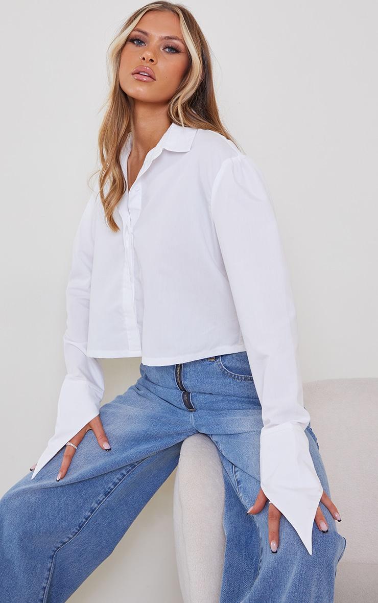 White Cropped Long Sleeve Shirt