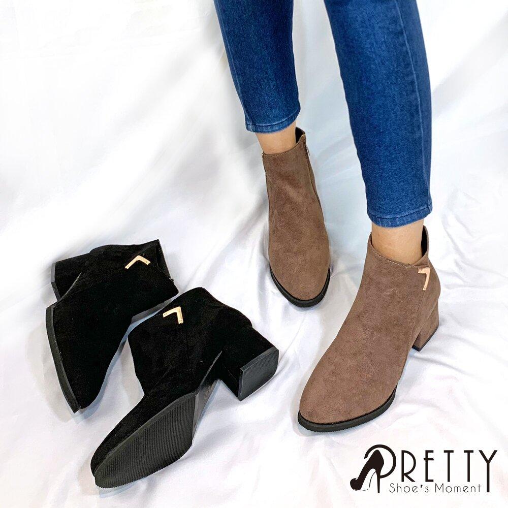 【Pretty】時髦美型金屬V釦環粗跟短靴/踝靴B-22629