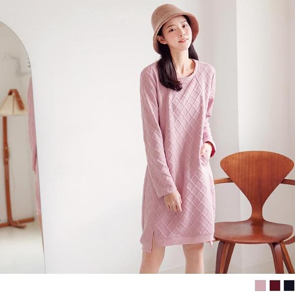 《DA8164-》甜美立體織紋H-LINE短洋裝/長版上衣 OB嚴選