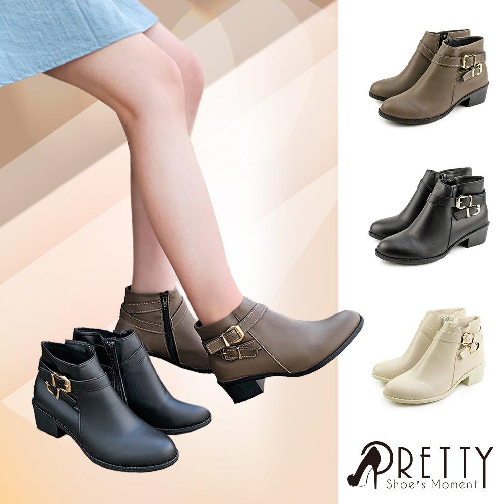 【Pretty】秋冬時尚皮帶釦內側拉鍊低跟踝靴B-27821