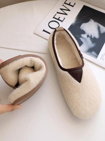 軟底羊羔毛毛鞋女冬外穿平底加絨保暖一腳蹬豆豆鞋舒適孕婦棉鞋潮 酷男精品館