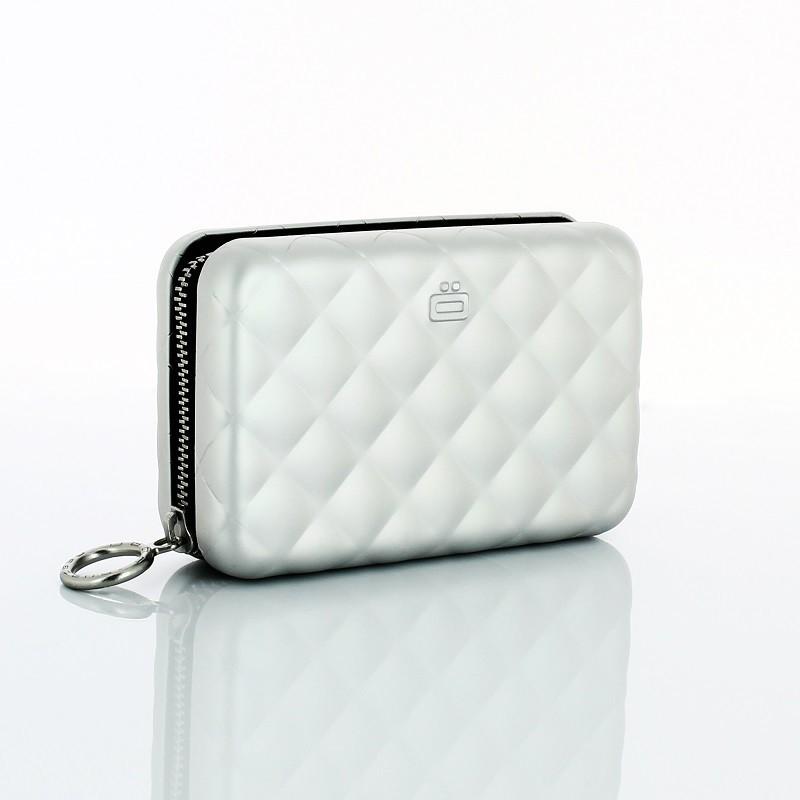 法國 Ogon Designs-Quilted Zipper RFID安全防盜菱格紋拉鍊卡匣-Silver 銀色