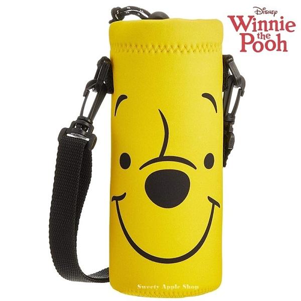 日本限定 迪士尼 小熊維尼 大臉版 掛繩背帶式 水瓶提袋 / 水壺袋 / 水壺套
