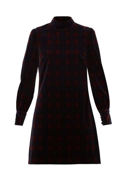 Bella Freud - Tartan Cotton-velvet Mini Dress - Womens - Burgundy