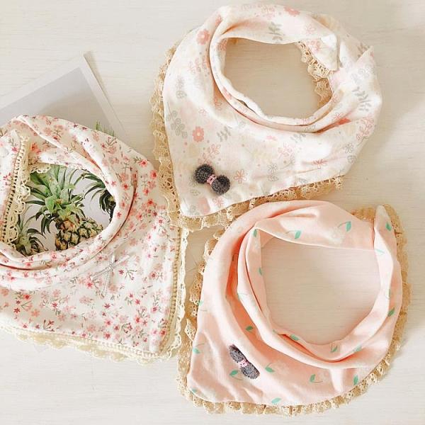 寶寶三角口水巾純棉嬰幼兒童圍嘴兜蕾絲花邊雙層按扣圍巾【奇趣小屋】