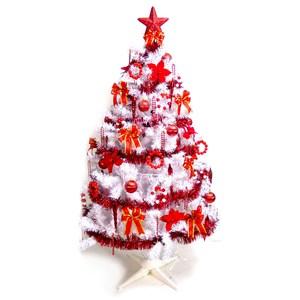 摩達客 台灣製4尺豪華版夢幻白色聖誕樹+純紅色系配件(不含燈)