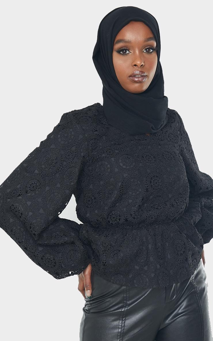 Black Premium Crochet V Neck Peplum Blouse