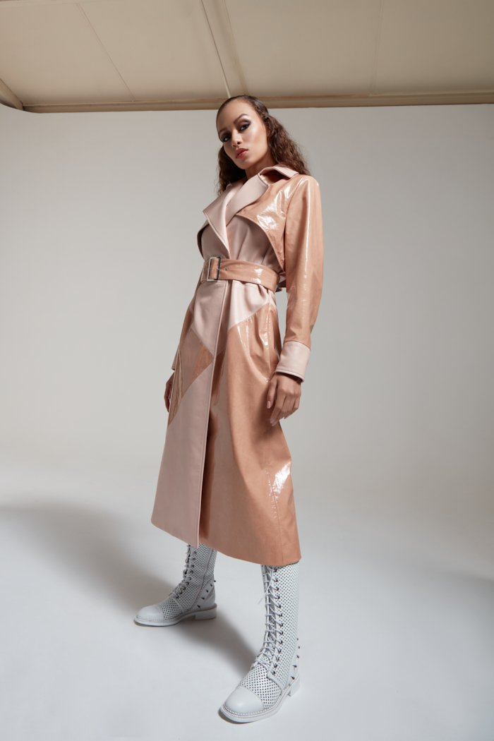 Geo Patent Leather Trenchcoat in Nude PRITCH London.com, 12