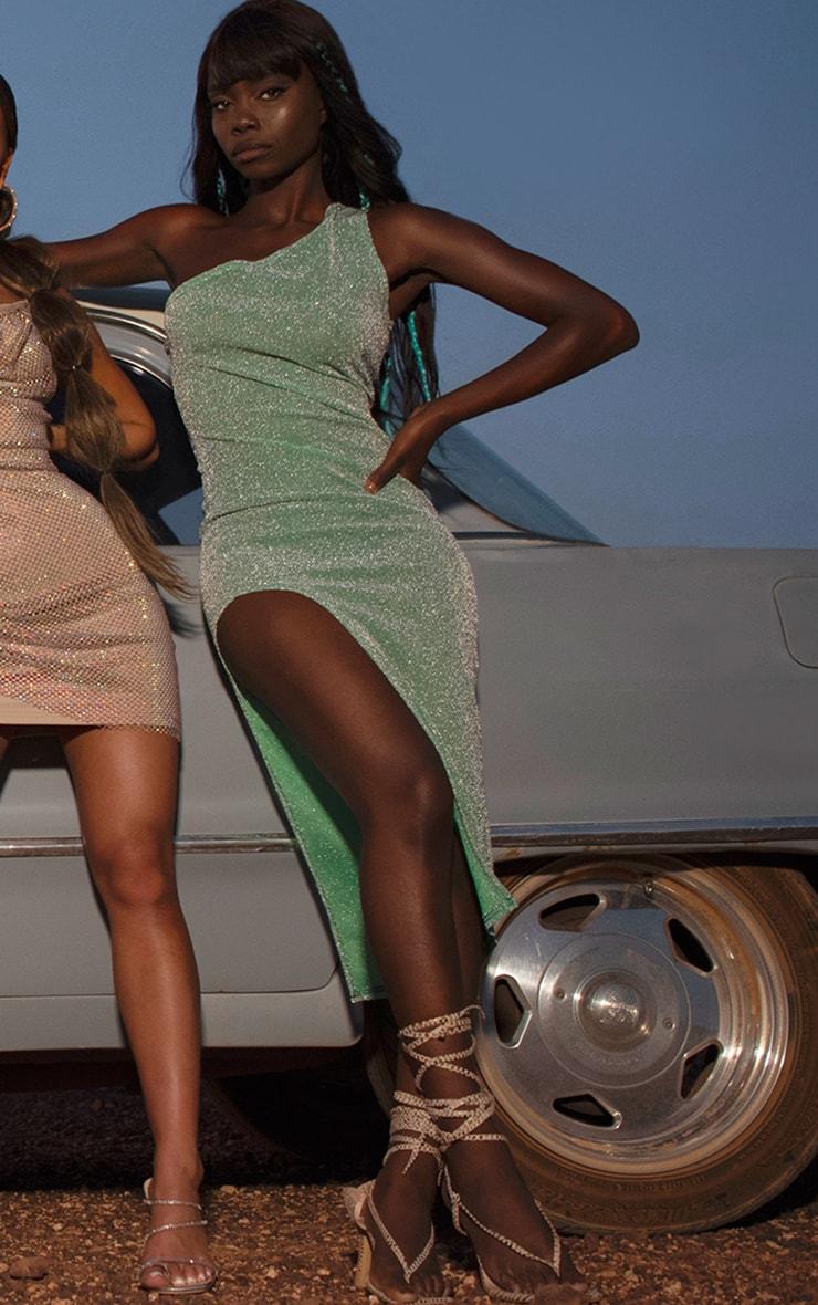 Sage Green Glitter One Shoulder Beach Dress