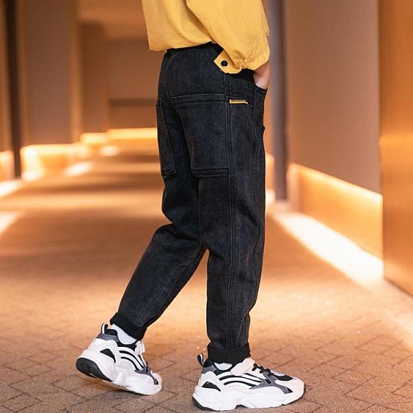 中大童牛仔褲春秋冬季款加絨男童褲子直筒長2020新孩兒童寬鬆洋氣  【夏日新品】