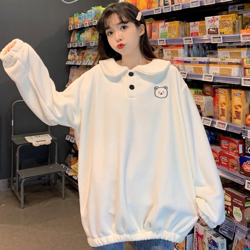 長袖大學t女秋冬款搖粒絨卡通小熊刺繡寬鬆顯瘦韓版時尚減齡氣質Polo領白色套頭打底衫上衣