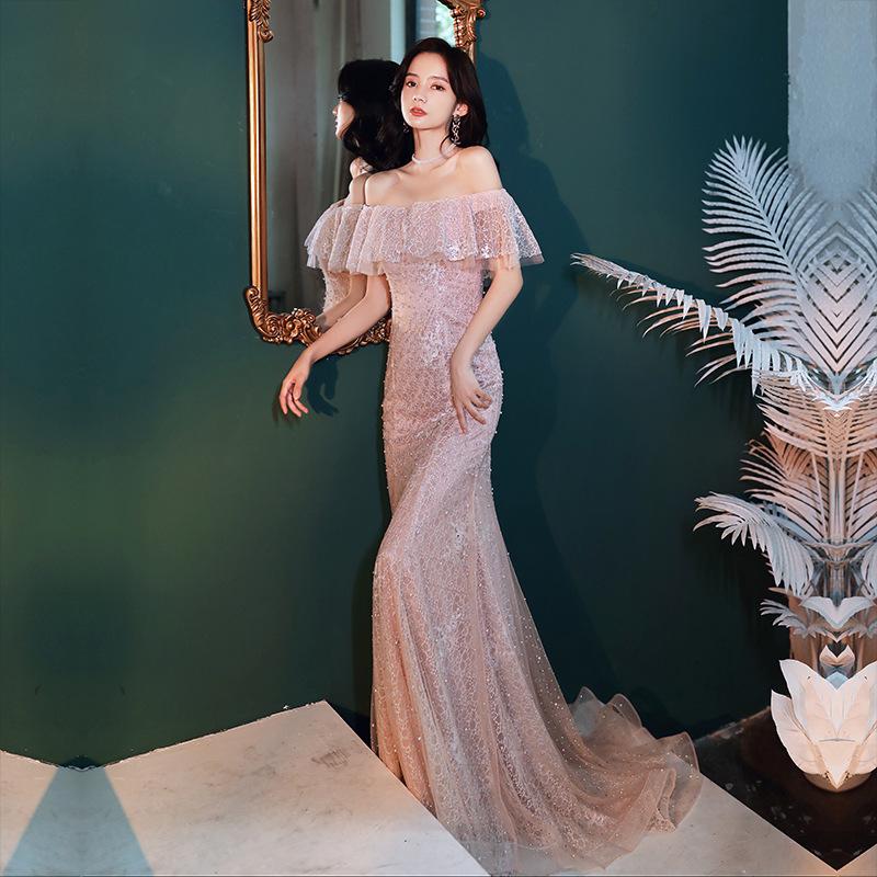 晚禮服裙 新款 魚尾 粉色 宴會 晚禮服 女
