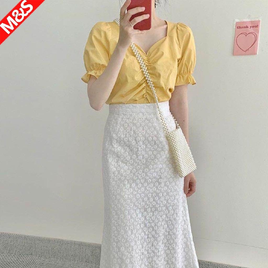嫩黃色上衣淡黃色夏季設計感小眾露鎖骨檸檬黃鵝黃色襯衫裙女套裝