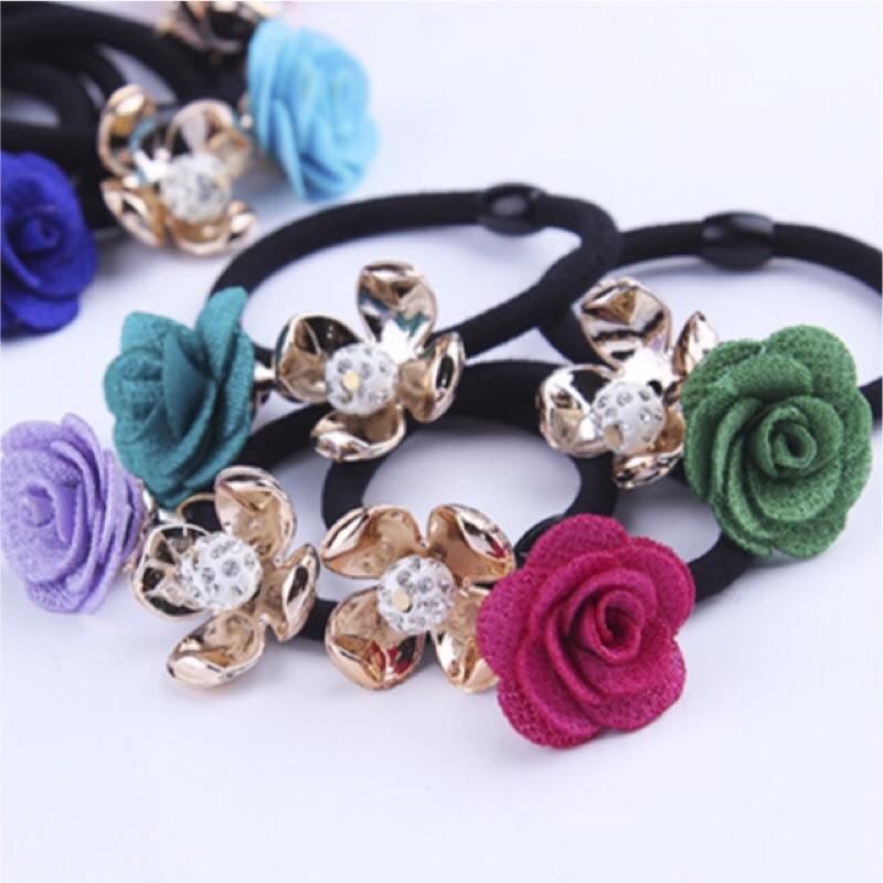 日本 韓國 水鑽 花朵 珍珠 髮圈 髮繩 小飾品 髮飾