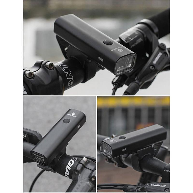 100% 原裝 Rockbros 自行車頭燈 Usb 充電自行車燈防雨手電筒山地車公路自行車前燈