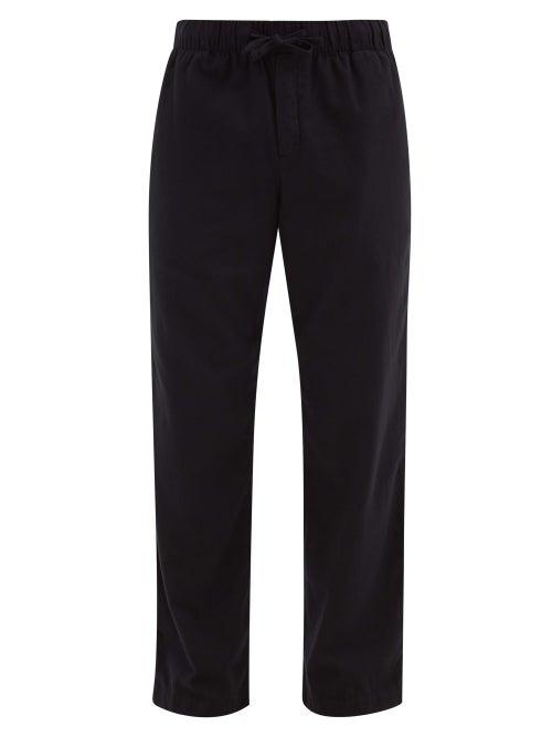 Tekla - Drawstring Organic-cotton Flannel Pyjama Trousers - Mens - Black