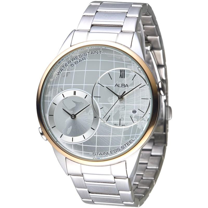 ALBA雅柏 手錶 AZ9004X1 世界地圖兩地時間男錶-玫瑰金框 保固二年 廠商直送