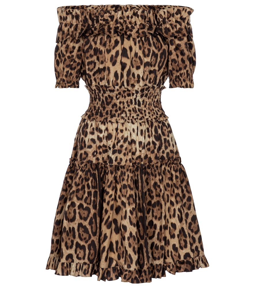 Leopard-print cotton minidress