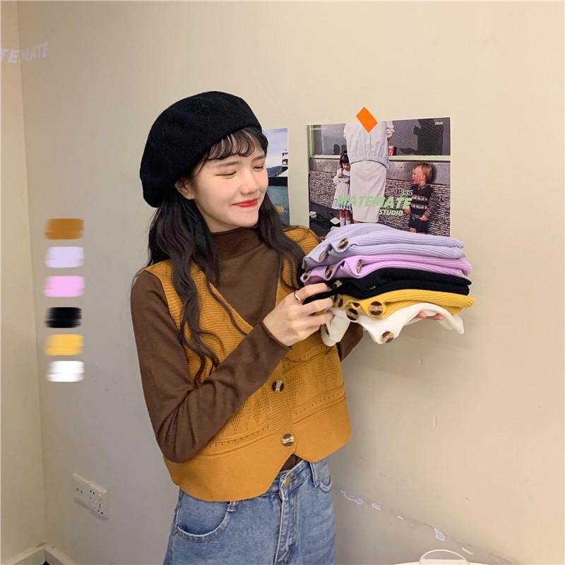 【小可家】春秋2020 新款小清新 顯瘦V領 設計感可愛 減齡短款 針織馬甲背心女裝