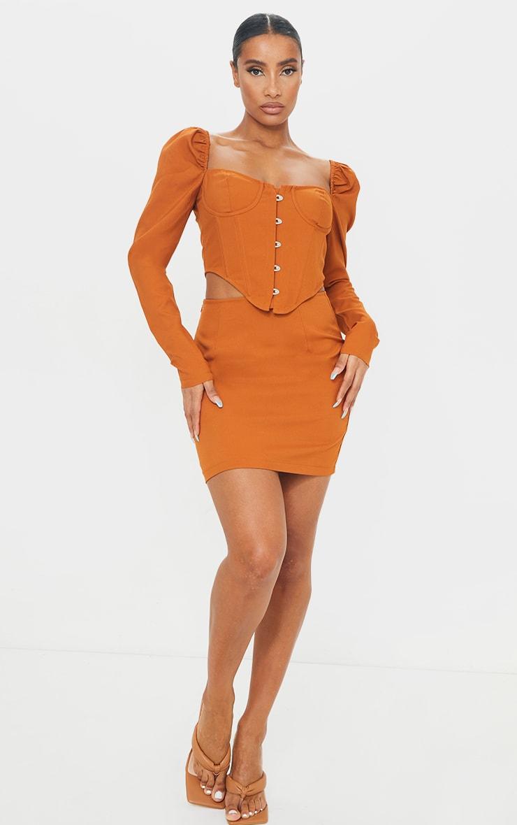 Camel Woven Mini Skirt