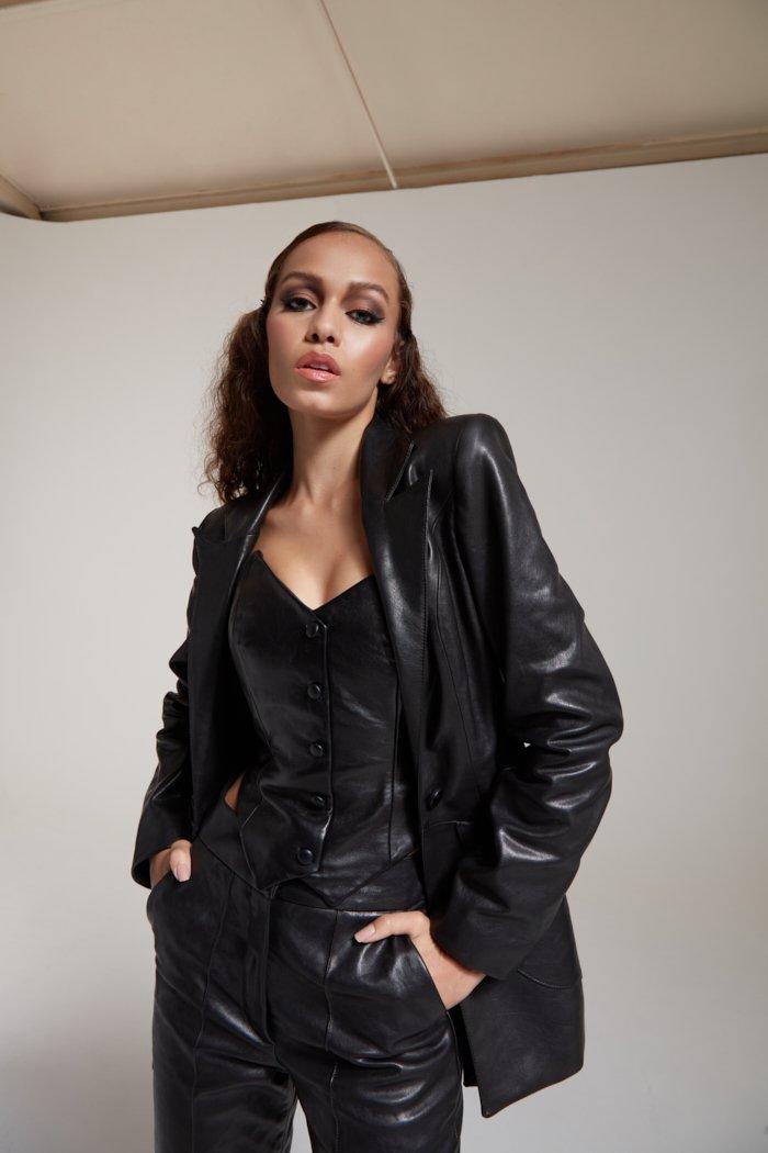 Torus Leather Blazer in black PRITCH London.com, 8