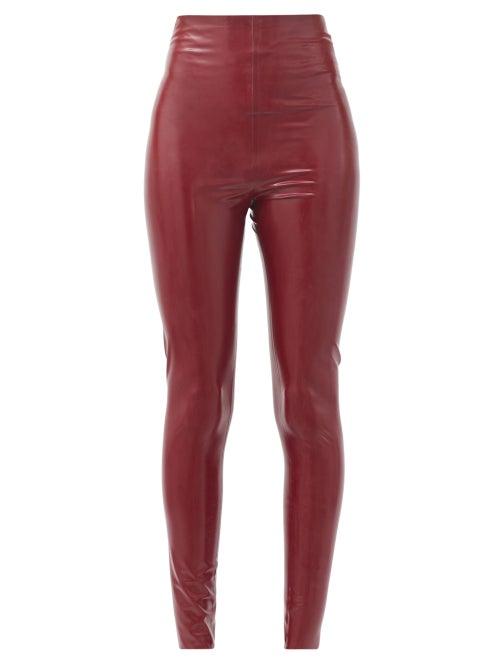 Saint Laurent - High-rise Latex Leggings - Womens - Red