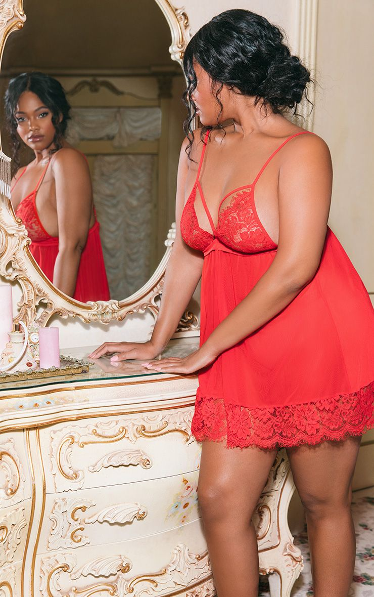 Plus Red Lace Trim Babydoll