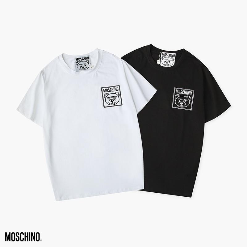 新款莫斯奇諾短袖 2020素色短袖 字母LOGO男女同款夏季上衣 情侶百搭圆领短袖T恤 高品質31120