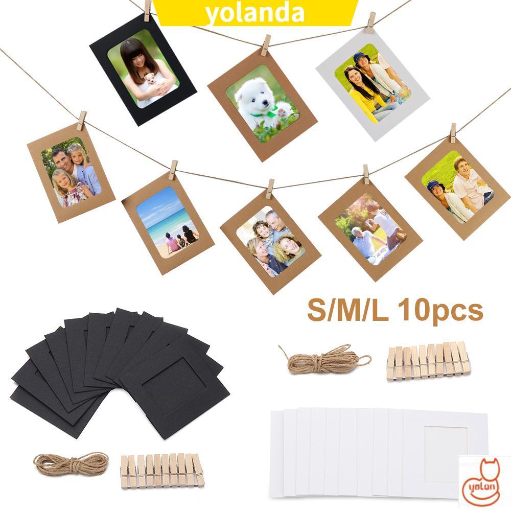 Yola Diy 紙照片架家居裝飾壁掛式相冊架木夾麻繩時尚實用掛圖 / 多色 / 10pcs