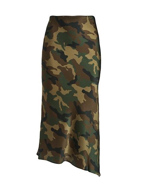 Maeve Asymetrical Camo Slip Skirt
