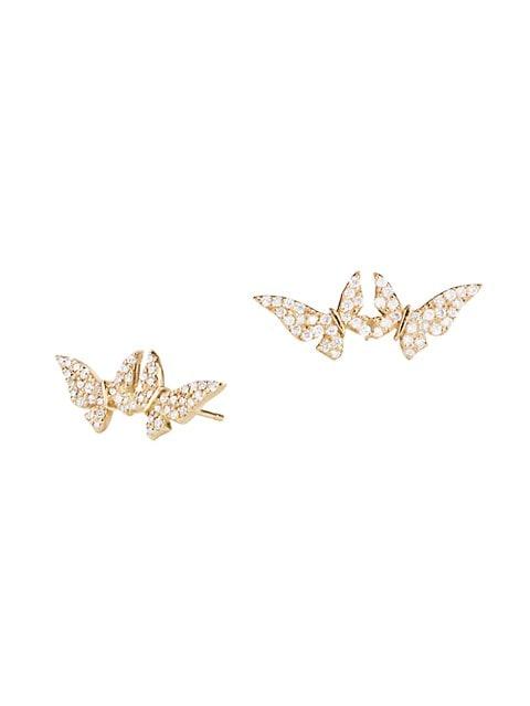 14K Yellow Gold & Diamond Double Butterfly Stud Earrings