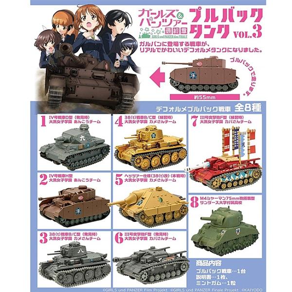 整盒10入【日本正版】少女與戰車最終章 迴力戰車 Vol.3 盒玩 模型 迴力車 海洋堂 F-toys 603873