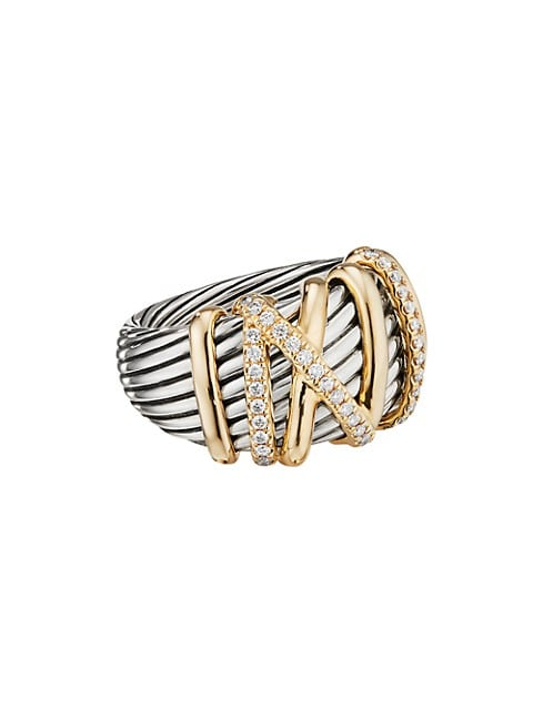 Helena Statement Ring with 18K Yellow Gold & Diamonds