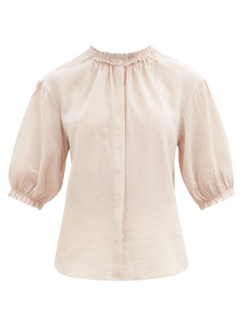 Loup Charmant - Pico Ruffled Organic-cotton Blouse - Womens - Light Pink