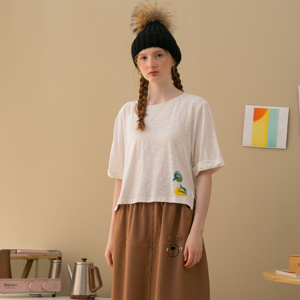 【Dailo】水彩對話短版休閒短袖-上衣(白色)