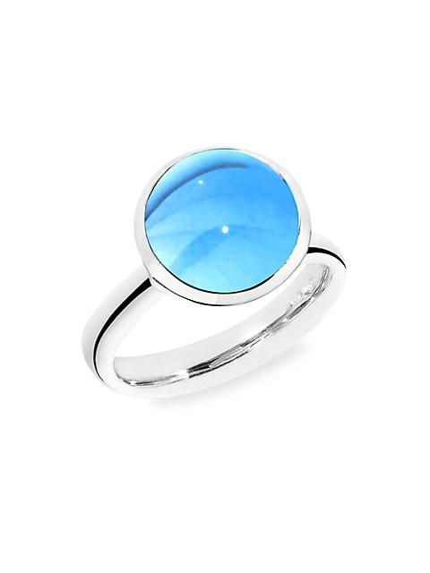 Large Bouton 18K White Gold & Swiss Blue Topaz Ring
