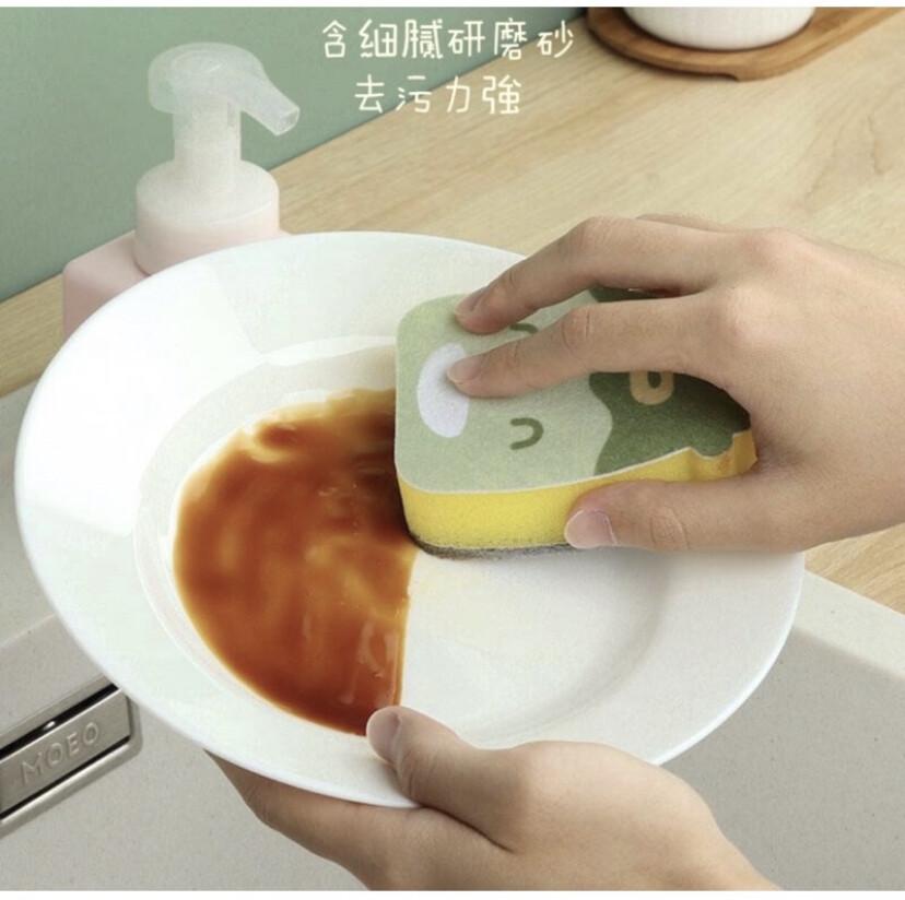 現貨 雙面去污百潔布 清潔海綿 洗鍋刷 家用廚房海綿擦 創意卡通嘻哈 菜瓜布