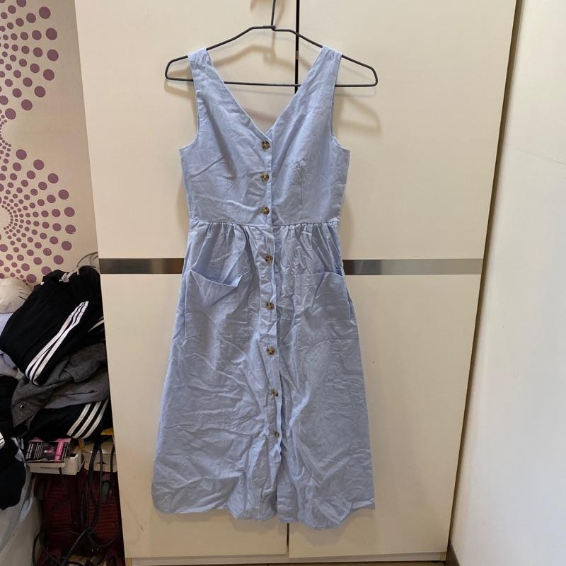 藍色長版背後蝴蝶結洋裝