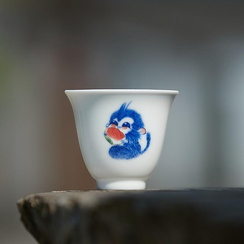 景德鎮全手工陶瓷手繪小猴子茶杯文藝清新功夫茶具古樸品茗主人杯