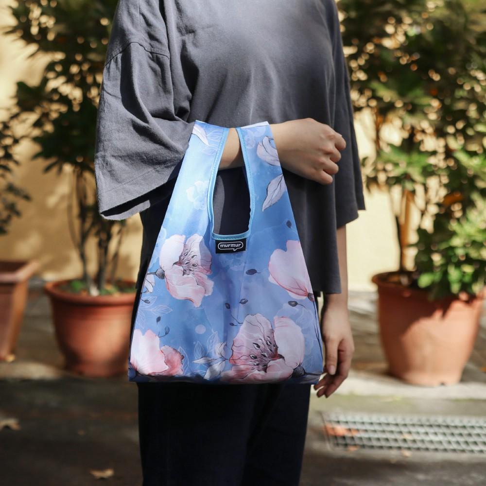 【murmur官方】 便當包/小購物袋【粉藍花】小資女必備、媽咪必敗、收納袋、環保袋