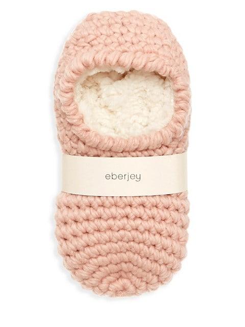 Faux Fur-Lined Knit Slipper Socks