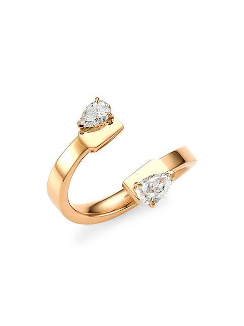 Serti Sur Vide 18K Rose Gold & White Diamond Ring
