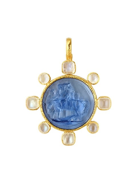Venetian Glass Intaglio 19K Yellow Gold & Moonstone Cerulean 'Ancient Horse' Pendant