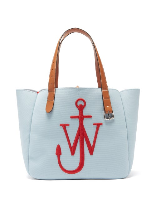 JW Anderson - Belt Embroidered-anchor Canvas Tote Bag - Womens - Red Multi