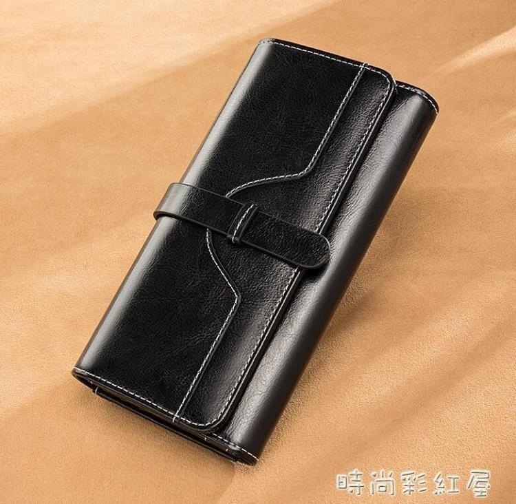 女士錢包女長款2020新款時尚ins潮復古大容量真皮手拿包可放手機