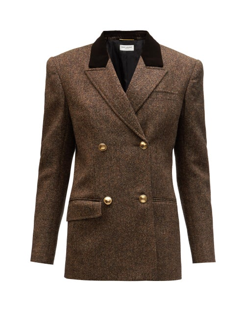 Saint Laurent - Double-breasted Velvet-lapel Wool-tweed Jacket - Womens - Brown Multi
