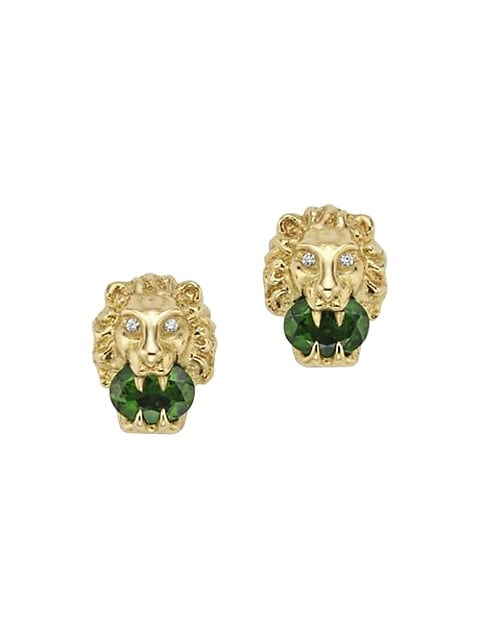 Lionhead Earrings in Yellow Gold, Chrome Diopside and Diamonds
