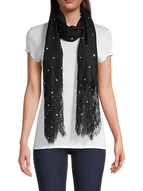 Plisse Lace-Panelled Cashmere & Wool Scarf