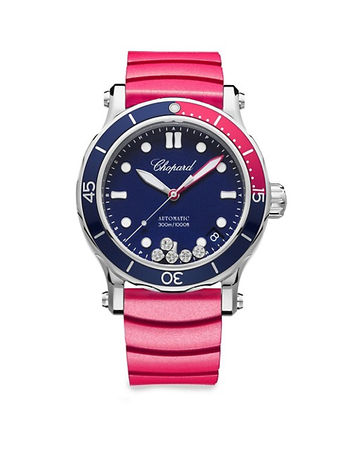 Happy Ocean Stainless Steel, Diamond, Rubber & Fabric-Strap Watch