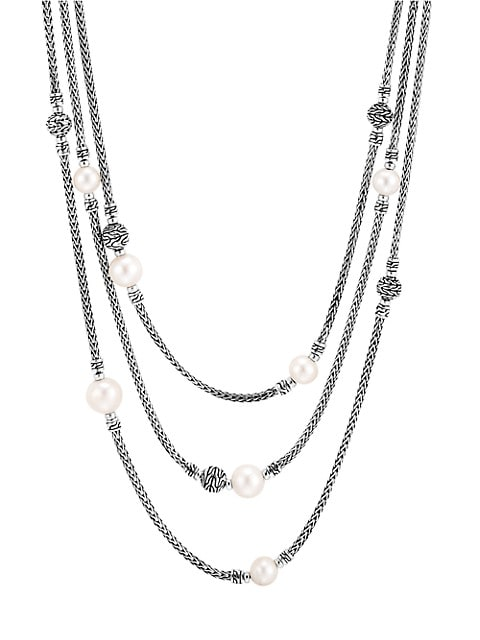 Chain Classic Sterling SIlver & 7-10MM Freshwater Pearl Multi-Row Necklace